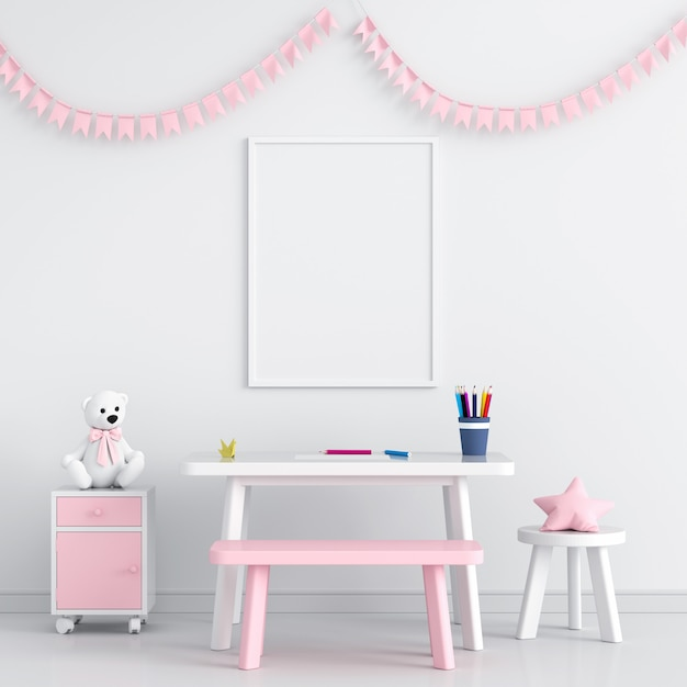 Blank photo frame in child room Premium Photo