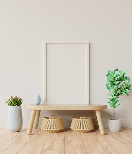 Blank photo frame in the interior room on table. Premium Photo