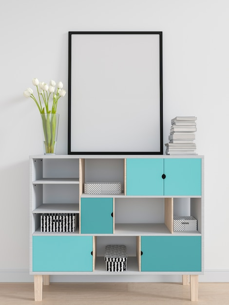 Blank photo frame for mockup on the cabinet Premium Photo