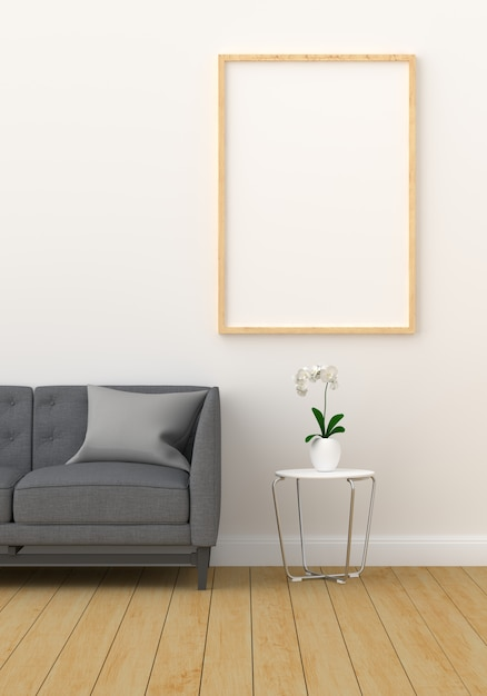 Blank photo frame for mockup in modern living room Premium Photo