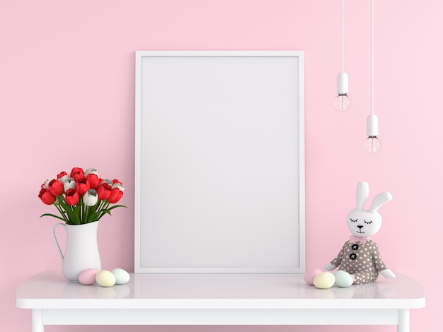 Blank photo frame for mockup on table, easter concept Premium Photo