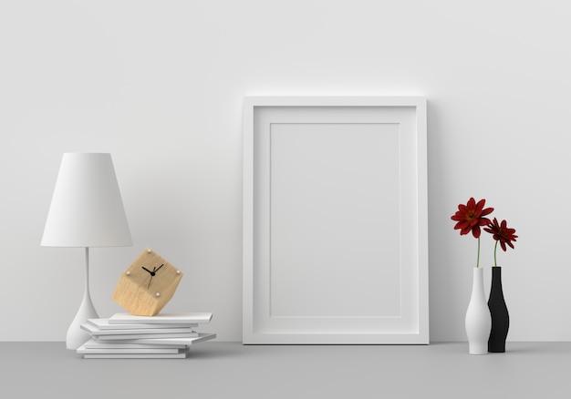 Blank photo frame in modern living room, 3d render, 3d Premium Photo