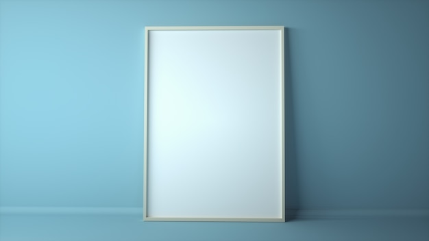 Blank photo frame or picture frame in room space background with blue wall