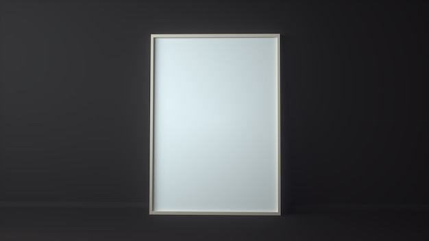 Blank picture frame for insert text or image inside on dark grey color