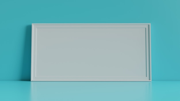Blank picture frame with table and wall background. 3d rendering. Premium Photo