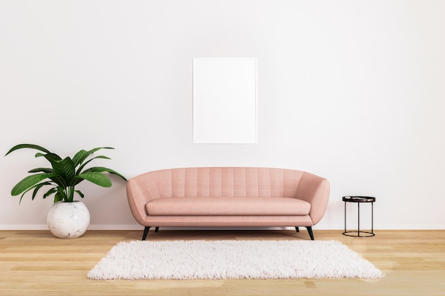 Blank picture or poster mockup pink sofa with black coffee table and plant in bright living room Premium Photo