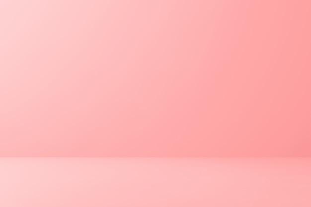 最小限のスタイルで床の背景に空白のピンクのディスプレイ。 3dレンダリング。 Premium写真