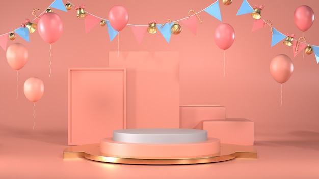 Blank podium scene for celebrate christmas party of using for winter and last year sell Premium Photo