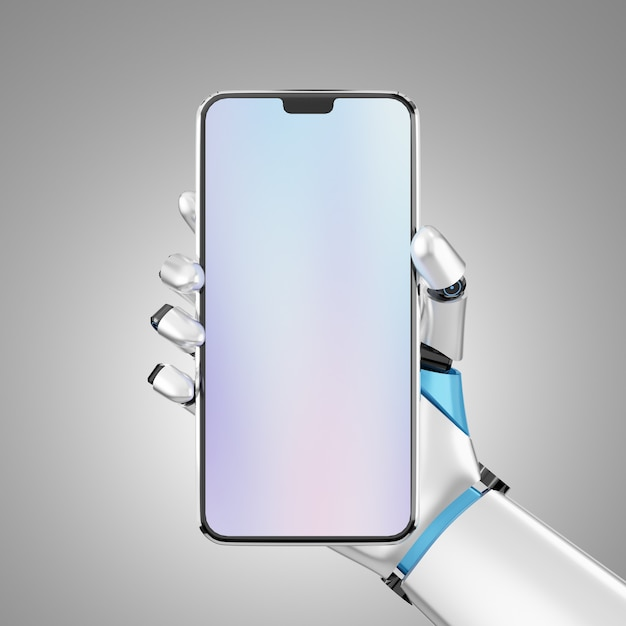 Blank screen smartphone mobile hold by robot hand for the presentation. image with clipping path. 3