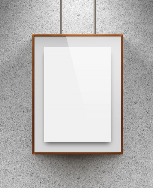 Blank sheet in wood canvas near the textured wall Premium Photo