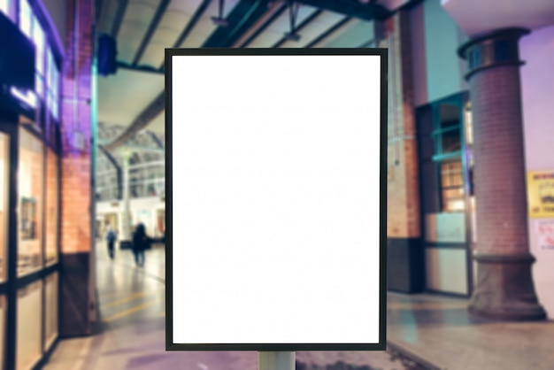Blank sign with copy space for your text message or mock up content in modern shopping mall. Premium Photo