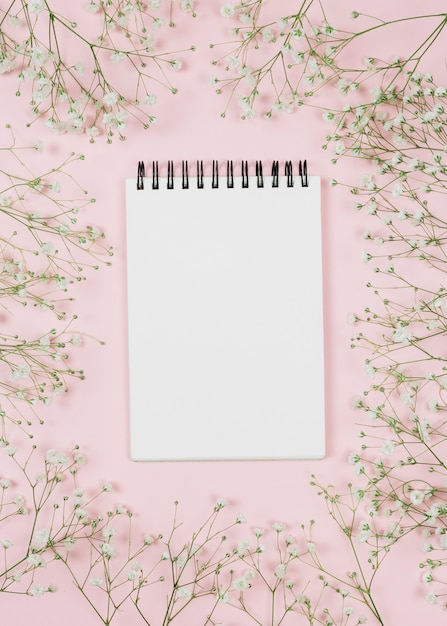 Blank spiral notepad surrounded with gypsophila flowers against pink background Free Photo