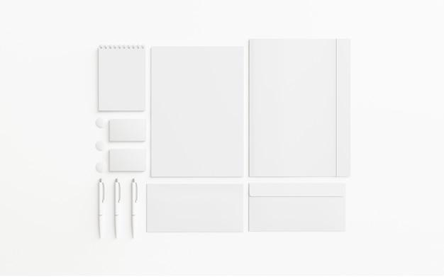 白、3 dのレンダリングに分離された空白のひな形セット。 無料写真