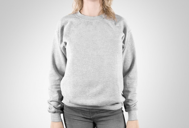 Blank sweatshirt  isolated, female wear plain hoodie Premium Photo