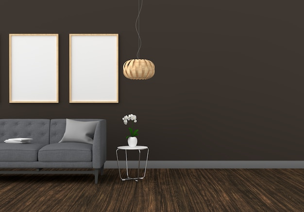 Blank two photo frame for mockup in modern living room Premium Photo