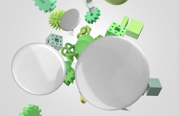 空白の白い3dバッジと空飛ぶ幾何学的形状 無料写真
