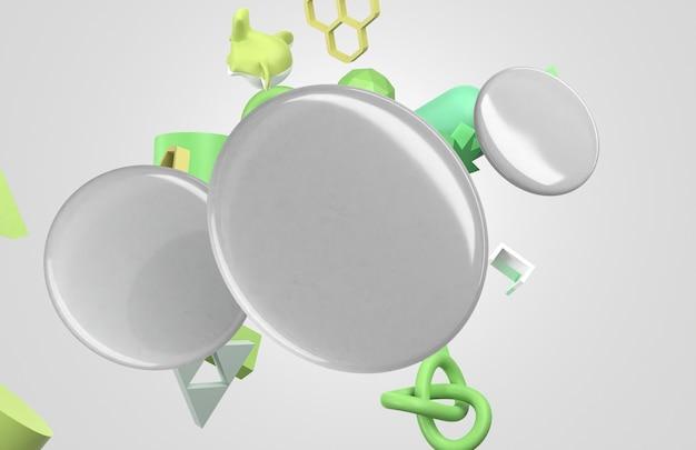 緑の形をした空白の白い3dバッジ 無料写真