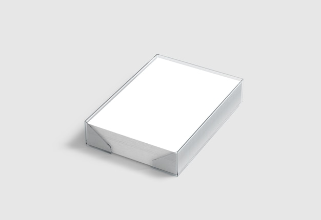 Blank white a4 paper pile in plastic holder Premium Photo