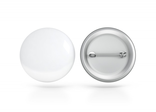 Blank white button badge , front and back side Premium Photo