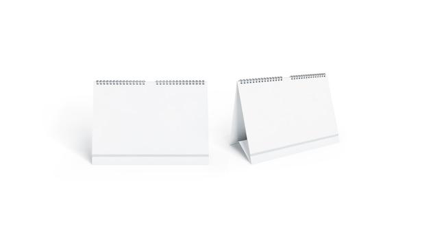 Пустой белый календарь макет спереди и сбоку Premium Фотографии
