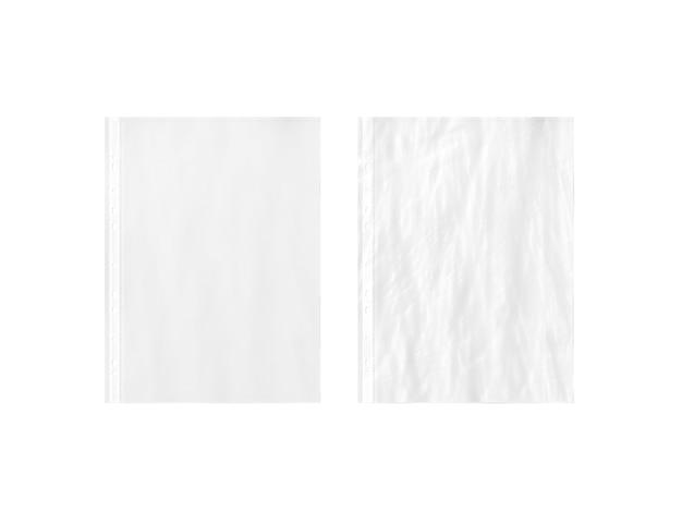 空白の白い空のa4透明プラスチックスリーブ、プレーンおよび折り目 Premium写真