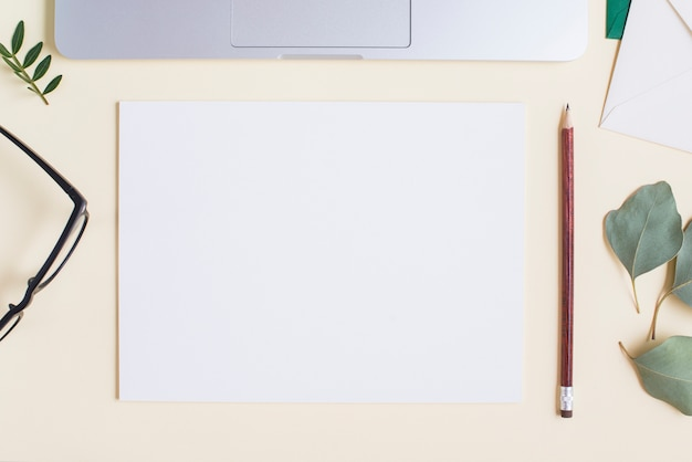 Blank white paper; pencil; eyeglasses; leaves and laptop on beige backdrop Free Photo