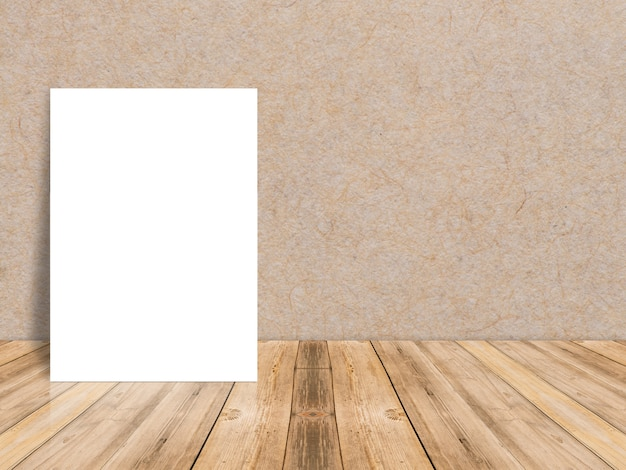 Blank white paper poster at tropical plank wooden floor and paper wall, Template mock up for adding your content,leave side space for display of product Free Photo