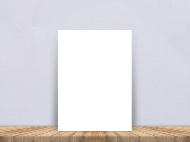 Blank White Paper Poster At Tropical Plank Wooden Floor And Paper