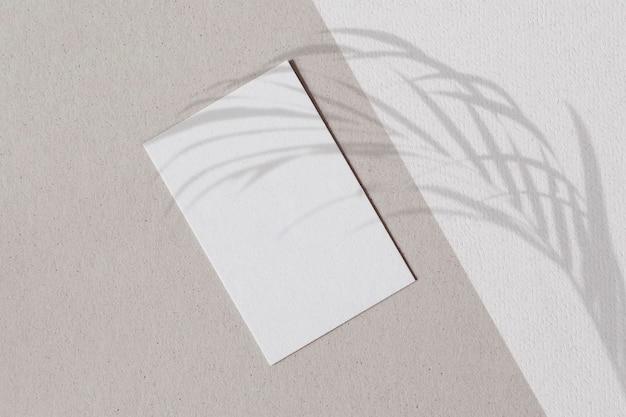 Чистый белый лист с тенью пальмовых листьев на двухцветной стене Бесплатные Фотографии
