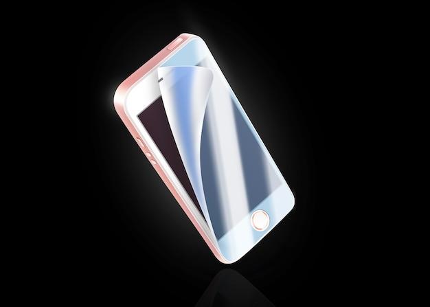 Blank white phone protection film on screen Premium Photo