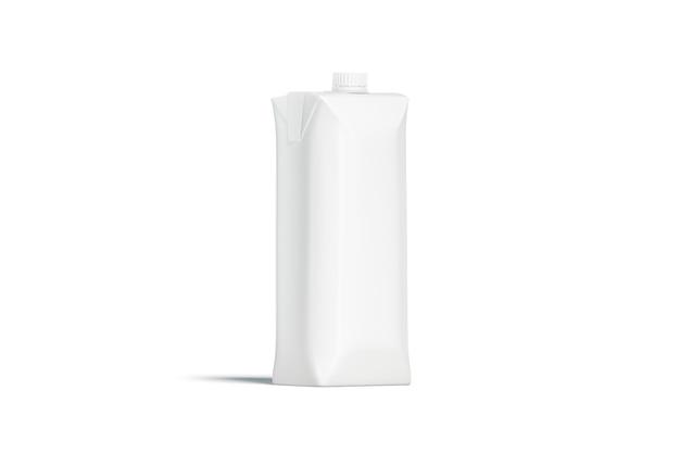 Пустой белый пакет сока prisma с крышкой макета Premium Фотографии