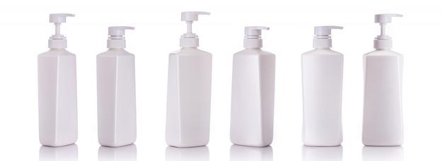Blank white pump plastic bottle used for shampoo or soap. Premium Photo