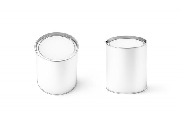 Blank white round can mockup set, isolated Premium Photo