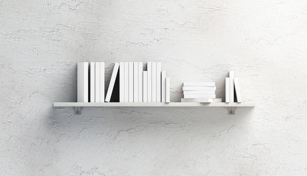 선반에 책 이랑의 빈 흰색 스택 프리미엄 사진