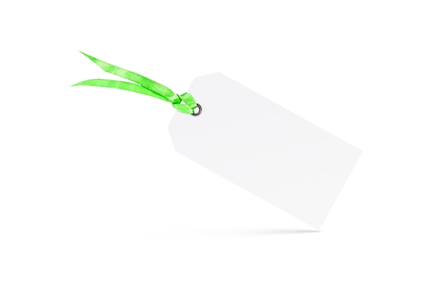 Blank white textured tag mock up with riband isolated. Premium Photo