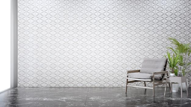 현대 집에서 거실의 대리석 바닥에 빈 흰색 타일 벽 프리미엄 사진