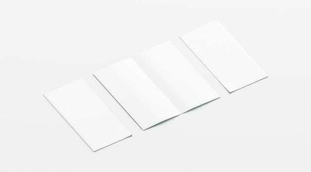 빈 흰색 두 접힌 소책자, 개폐, 전면 및 후면보기 프리미엄 사진