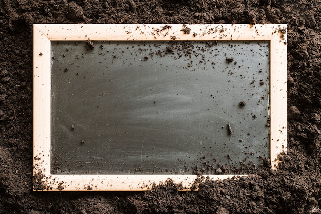Blank wooden slate over the soil Free Photo
