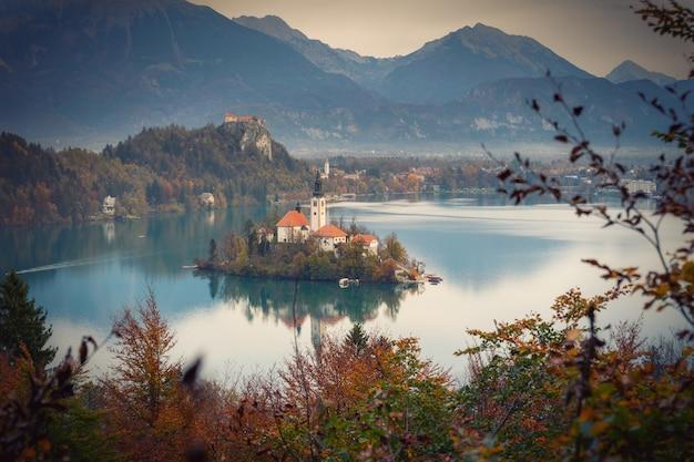 Бледное озеро с островными отражениями в обрамлении осенних цветов деревьев Premium Фотографии