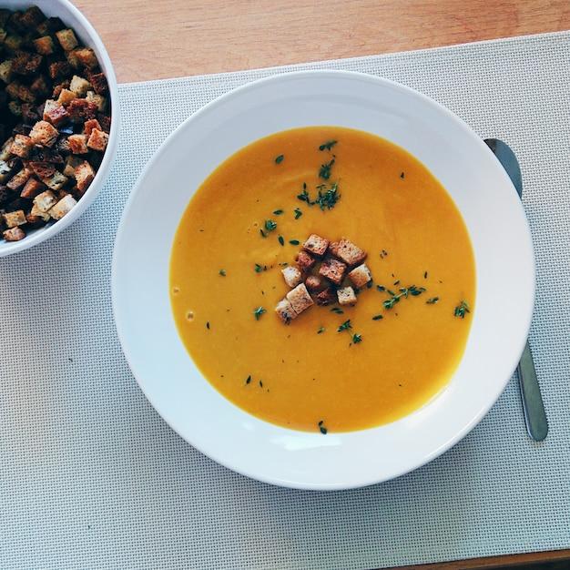 Blended hokkaido pumpkin soup Free Photo
