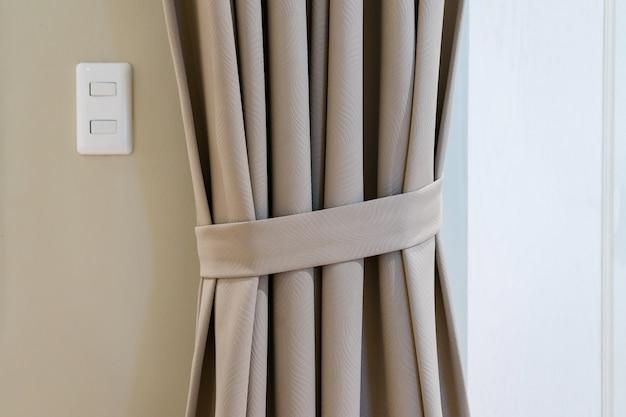 Blind curtain window decoration in bedroom interior Premium Photo