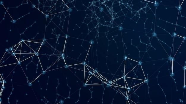 ブロックチェーンテクノロジーの未来的な抽象的な背景とブロックチェーンネットワーク。 Premium写真