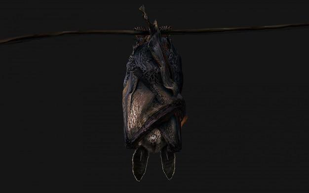 Blood thirsty vampire bat swooping on dark Premium Photo
