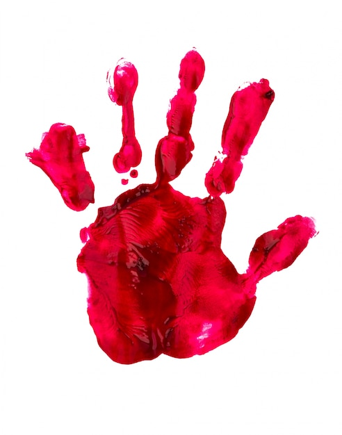 Bloody print of a hand and fingers on white wall Free Photo