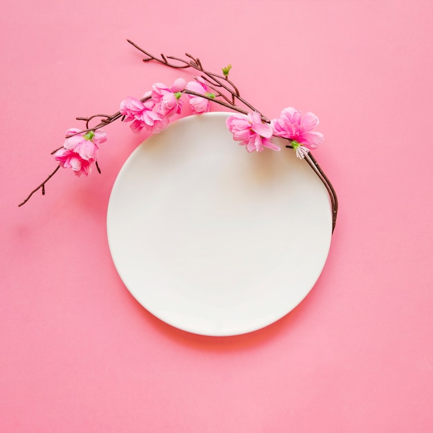 Blooming twig near plate Free Photo