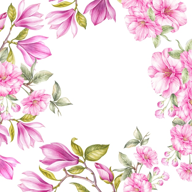 Blossom magnolia and japanese cherry flowers. Premium Photo