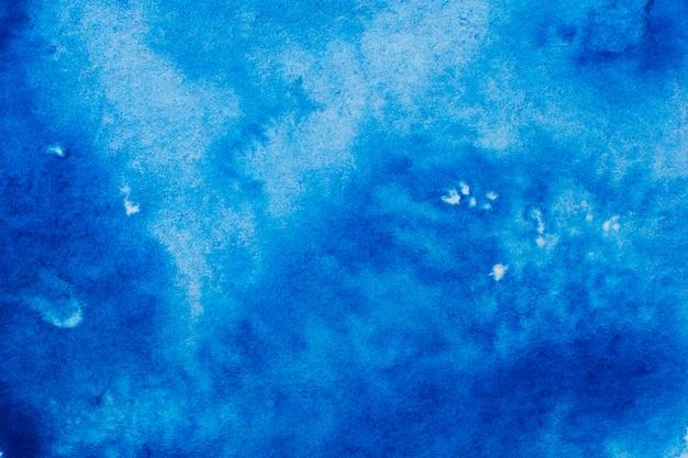 青い抽象的な塗られた水彩画の背景。 Premium写真