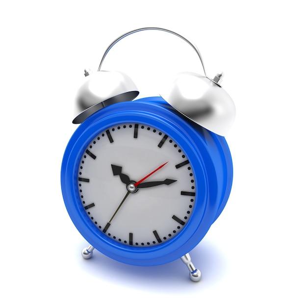 Синий будильник на белом изолированные Premium Фотографии