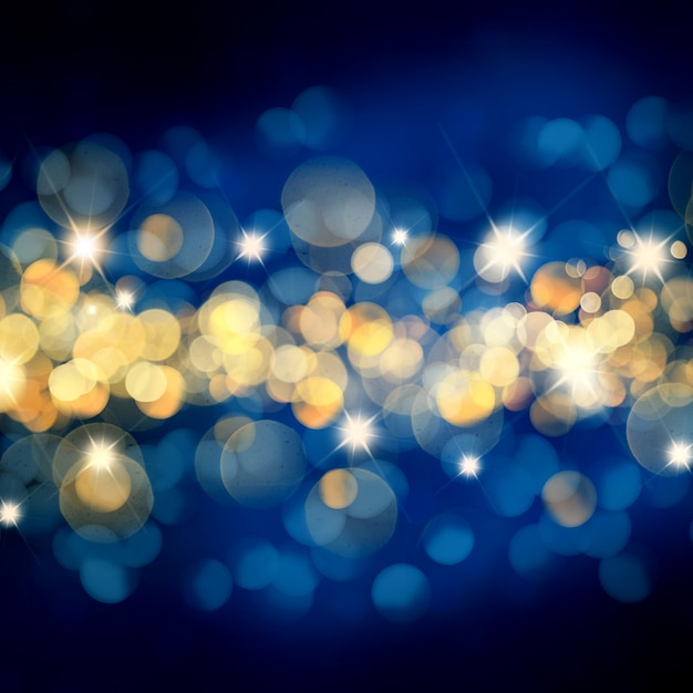 blue and gold christmas background with bokeh lights and stars photo