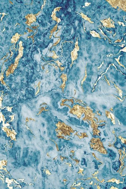 ブルーとゴールドの大理石の質感 無料写真